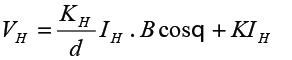 以利用霍尔元件的方式为例,霍尔效应符合以下的关系式